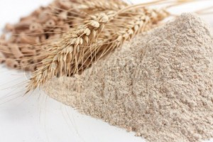 Wholemeal wheat flour and ears of wheat, closeup